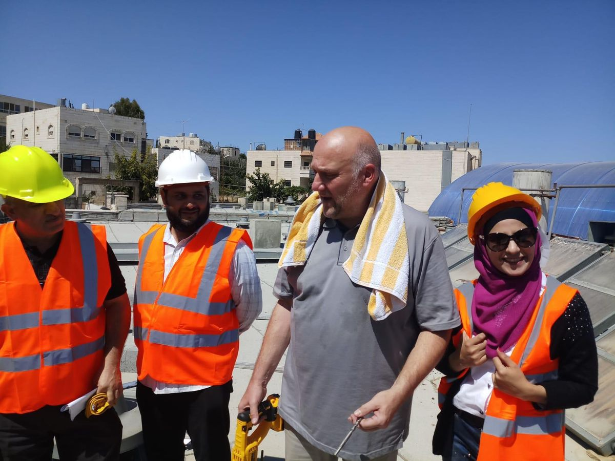 Installtion of solar panels, Halhoul VTC, Hebron/Palestine